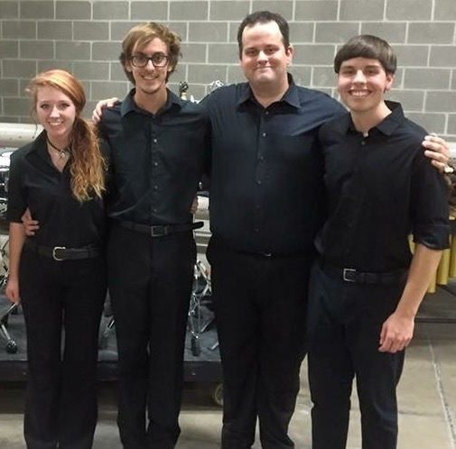 USA Percussion Ensemble members Emily Weaver, Ryan Boehme, Soren Odom, and Luke Smith