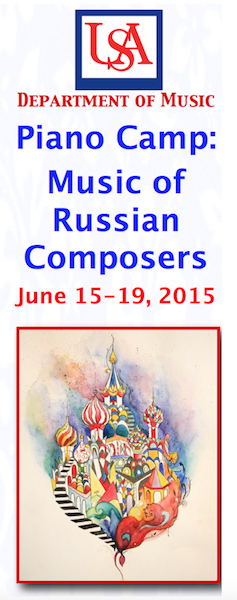 Poster advertising Piano Camp: Music of Russian Composers June 15-19 2015