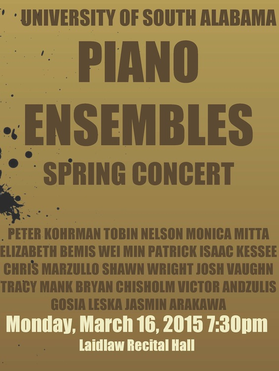 read story, USA Piano Ensembles Spring Concert March 16