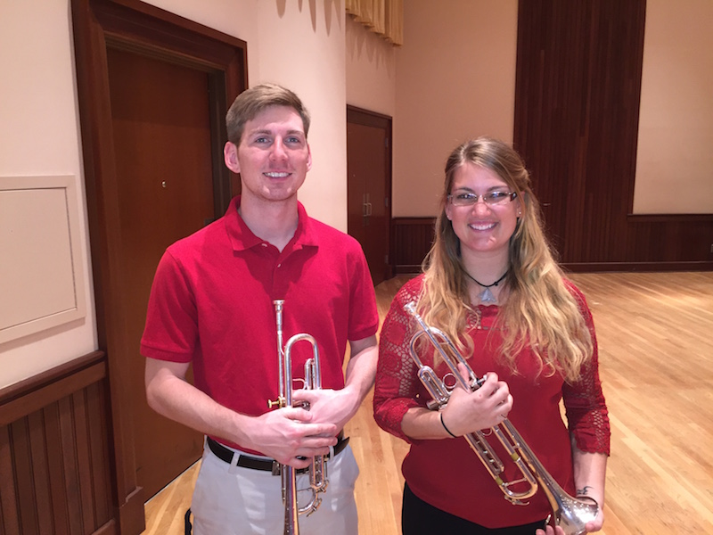 read story, Jenetta McGee and Nathan Shadix Senior Trumpet Recital April 10 at Laidlaw