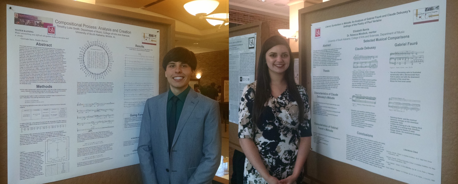 Luke Smith and Elizabeth Bemis each standing in front of their poster's used for Undergraduate Research Program