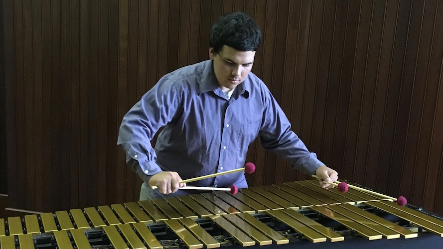 Alex White playing xylophone