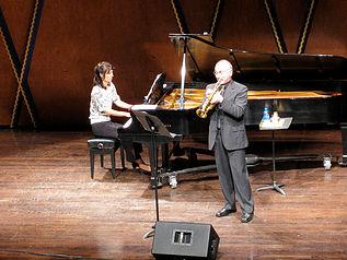 Trumpeter Ivano Ascari performing in concert.