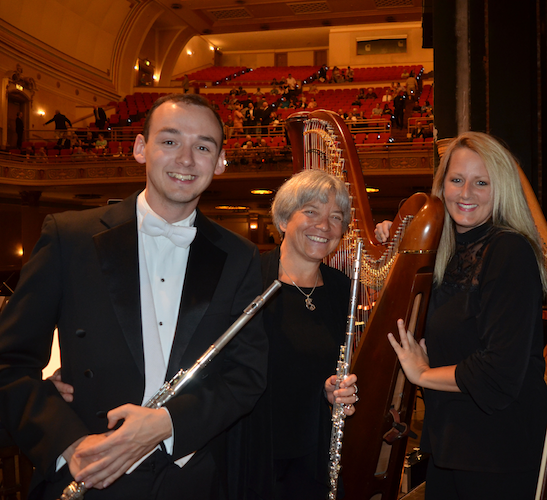 Travis Jones, Andra Bohnet and Katie Ott with flutes and harp