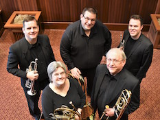 pictured is USA Faculty Brass Quintet