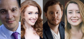 Pictured from left to right are vocalists Richard Sawyer, Jennifer Feinstein, Nicholas Brownlee and Kate Fleming Sawyer