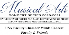 "Pictured is header of the printed program for the ""Faculty & Friends"" USA Chamber Winds concert."