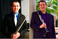 Pictured is faculty flutist Travis Jones and faculty clarinetist Kip Franklin.