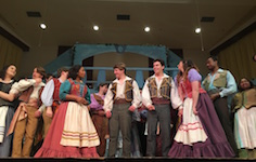 Pictured are members of USA Opera Theatre after a performance of the opera The Gondoliers.