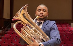 Pictured on the Laidlaw stage is graduate euphoniumist Ronald Gray.