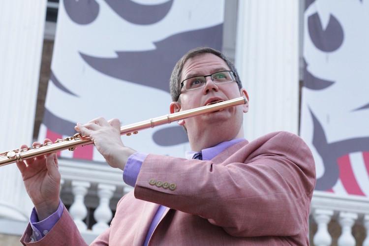 Pictured is guest faculty flutist Tim Hagen