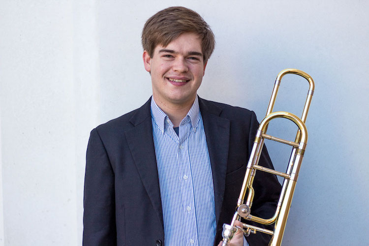 Destin Hinkel with trumpet