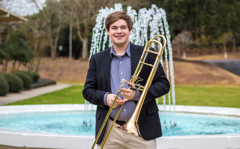 Pictured is trombonist Destin Hinkel