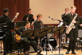 Members of the USA Jazz Ensemble performing on the Laidlaw stage