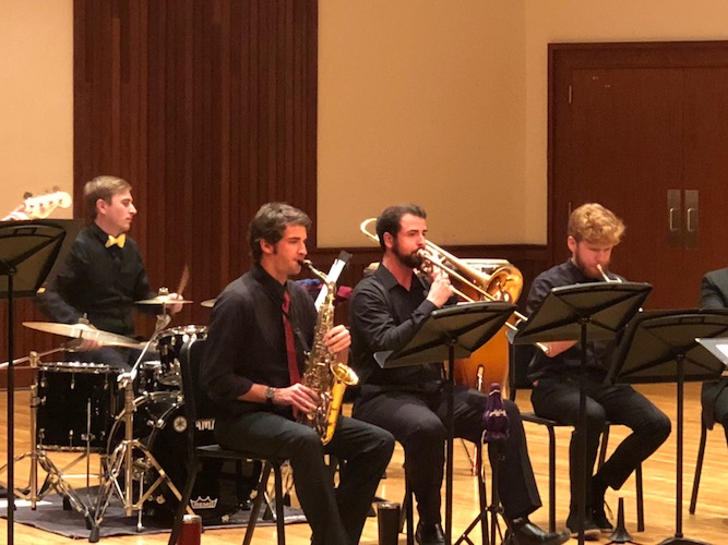 Pictured on the Laidlaw Recital Hall stage is the USA Jazz Ensemble in a previous concert. data-lightbox='featured'