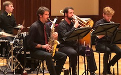 Pictured on the Laidlaw Recital Hall stage is the USA Jazz Ensemble in a previous concert.
