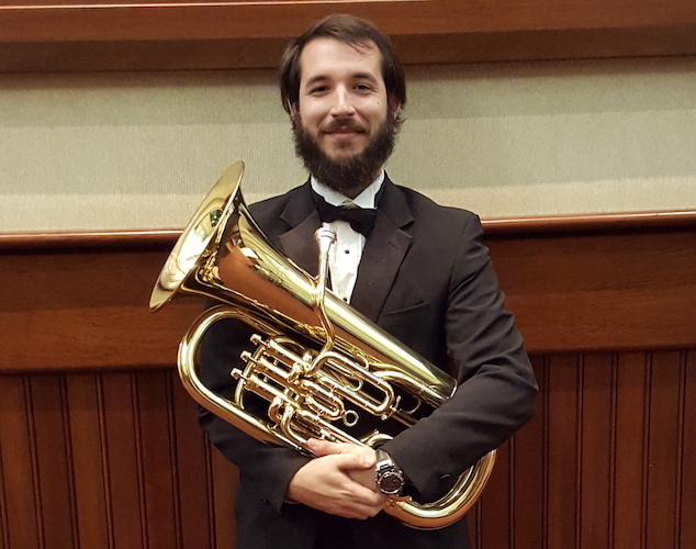 Christopher LeBatard with his Euphonium