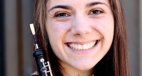 Pictured with oboe in hand is USA graduate student Jessica Mandel.