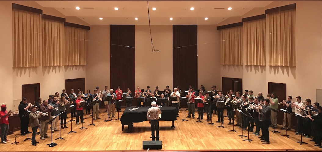 Pictured on the Laidlaw Recital Hall stage is the Mass Trumpet Choir from a previous USA Trumpet Day. data-lightbox='featured'
