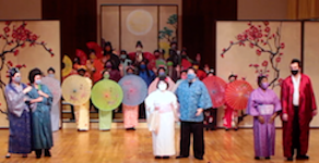 USA Opera Theatre pictured on stage at Laidlaw during production of The Mikado.