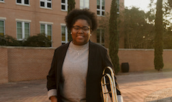 Pictured is senior trombonist Destiny Miskel.