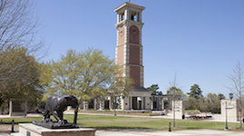 Pictured is the stately Moulton Tower on the University of South Alabama campus.