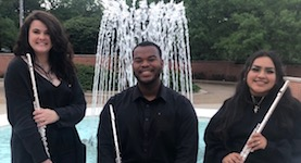 """Pictured by the Laidlaw fountain is the """"Percolate"""" Flute Trio, just one of the many performers on the Spring Honors Recital."""