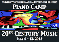 Pictured is a poster for USA Piano Camp 2018.  Information about the camp is listed in this article.