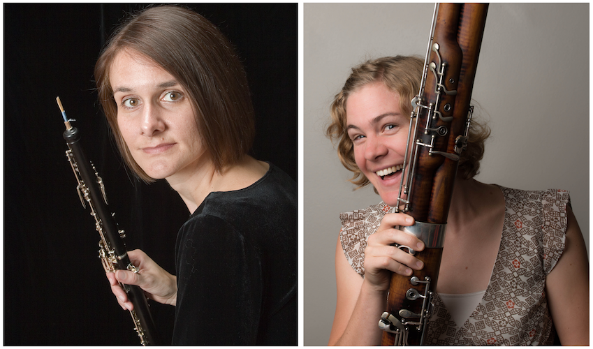 Dr. Susan Tomkiewicz and Dr. Stephanie Patterson each with their woodwind instrument