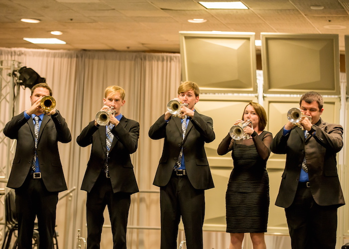 Pictured is the USA Trumpet Ensemble.