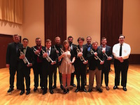 Pictured on the Laidlaw stage are students from the USA Department of Music Trumpet Studio.