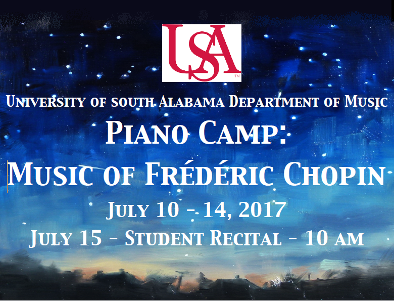 Poster for summer piano camp recital beginning July 10
