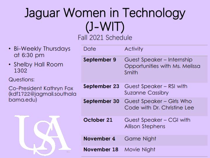Jaguar Women in Technology - Fall 2021 Schedule
