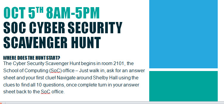 SOC CYBER SECURITY SCAVENGER HUNT Poster