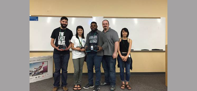 Team Kitten Factory and three of USA's own pictured with Myo Gesture Control Armbands