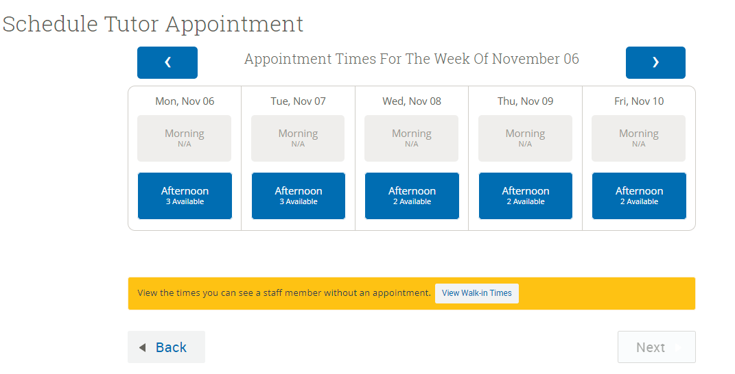 Tutor Appointment times