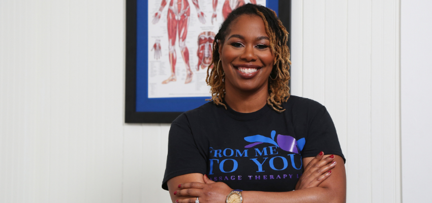 Courtney Dortch in her office at From Me to You Massage Therapy.