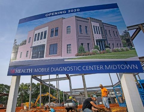 Bilboard showing new construction for healthcare.