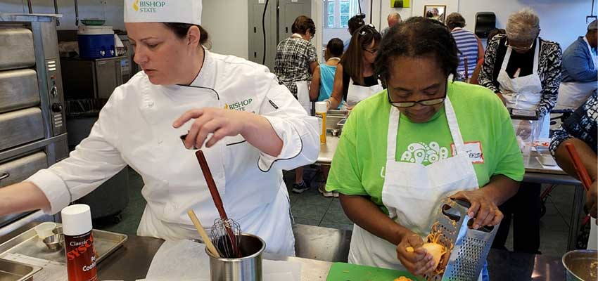 Gabi Wilson in kitchen working