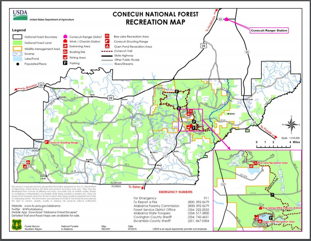 Conecuh National Forest Recreation Map