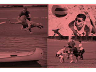 A collage showing beach volleyball, frisbee, canoe, and flag football