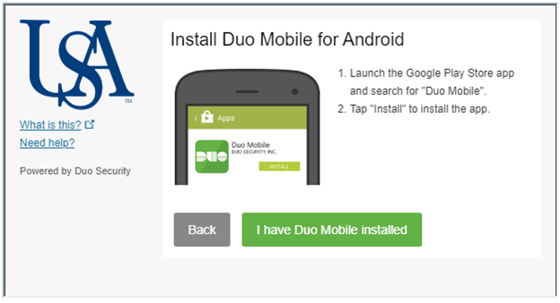 Screenshot of Install the Duo Mobile app on your device