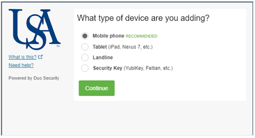 Screenshot of Select the type of device you want to add