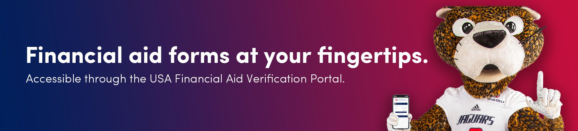 Southpaw with the text Financial aid forms at your fingertips.