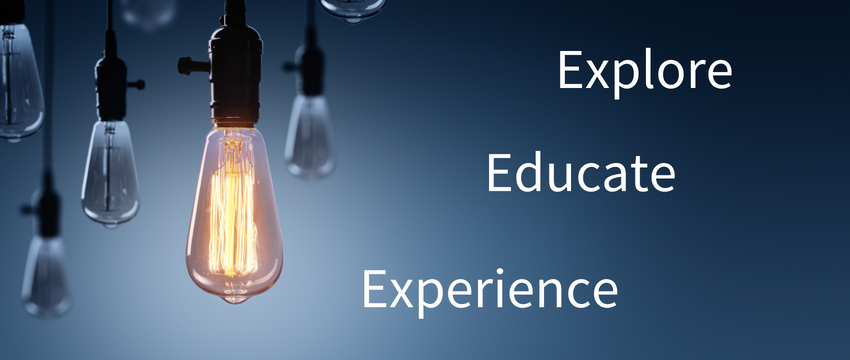 Explore Educate Experience text over image with lightbulb