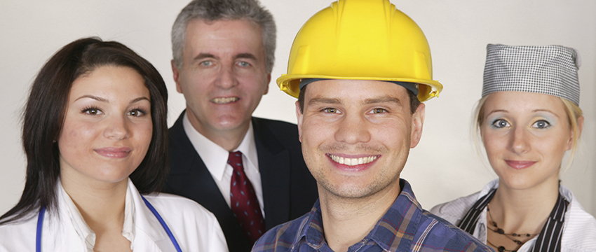 A group showing different professions - construction worker, healthcare worker, and man in suit.