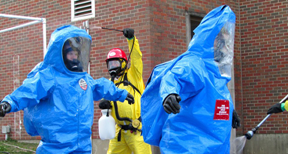 Students enter the Decon corridor.