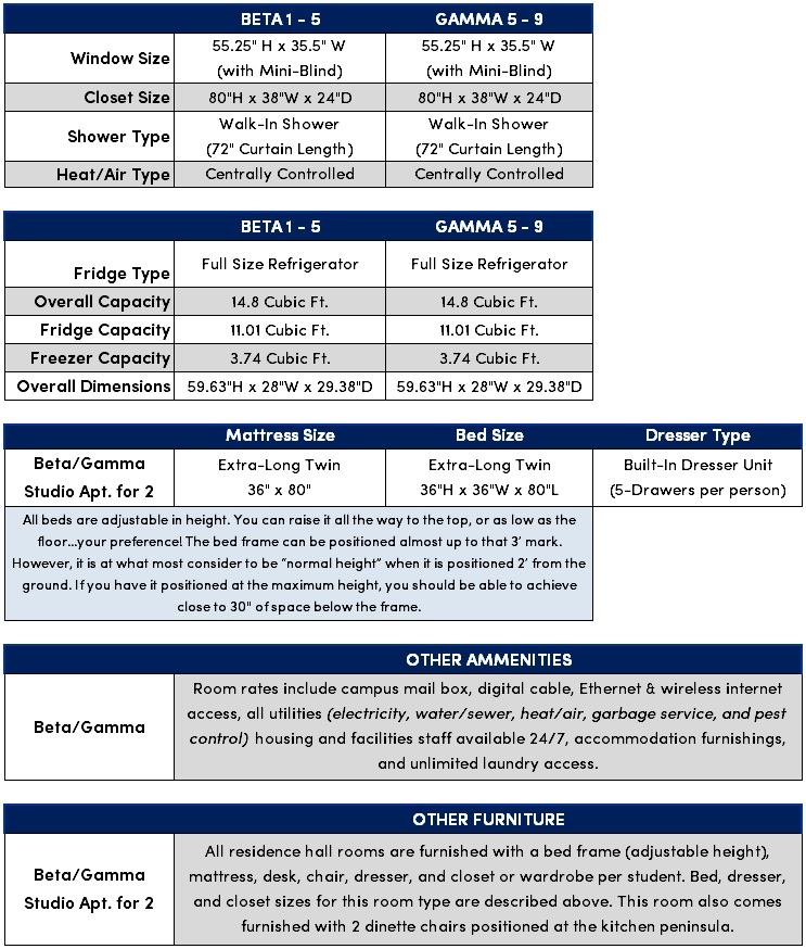Beta/Gamma Studio Apt Features & Amenities Chart