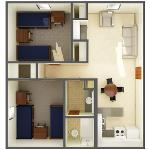 Room dimensions for beta/gamma 2 bedroom apartment overview for 4