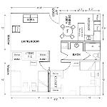 Room dimensions for beta/gamma 2 bedroom apartment architect drawing